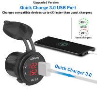12V/24V 3A Car Cigarette Lighter Socket QC 3.0 USB Charger Adapter LED Voltmeter