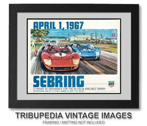 1967 SEBRING Race Advertising Poster Art Print - FORD GT40 Cars - Wall Art