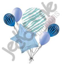 7pc Blue Zebra Print Balloon Bouquet Happy Birthday Baby Shower Animal Caribbean