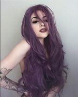 Womens Cosplay Long Dark Purple Full Hair Natural Wavy Natural Wig Coutume Party
