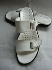 ECCO 12873 Motion White Leather Double Strap Open Toe Slide EU 38 US 7.5