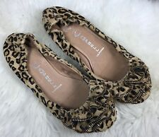 JEFFREY CAMPBELL Leopard Calf Hair Ruffle Zipper Detail Stretch Ballet Flat Sz 6