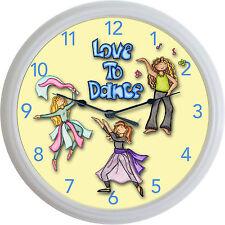"""Love To Dance Clock Jazz Ballet Hip-Hop Modern Dance Studio Dancing New! 10"""""""