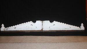 "VICTORIAN Peaked Pediment Gable Ornamentation 52"" w x 28"" h Salvage Chippy Paint"