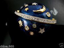 Signed Swarovski Celestial Moon Pin ~Brooch Retired Rare New !