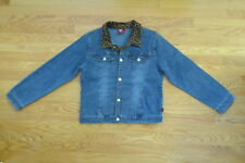Bongo Girl'S Sz 18 1/2 Plus Jean Jacket Med Blue Asian Stretch Denim W/ Leopard