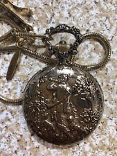 Vintage Quintel Gold Tone Pocket Watch Hunter With Chain Antistatic