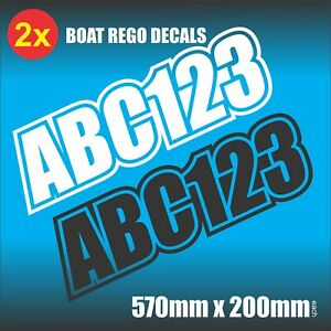 Fishing Boat REGISTRATION Sticker SET/REGO numbers lettering Marine Grade Vinyl
