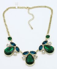 Gorgeous New Gold Holiday Necklace with Green & White Rhinestones #N2643