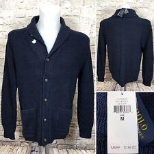 Polo Ralph Lauren Shawl Collar Cardigan Sweater Navy Blue Button Knit sz Medium