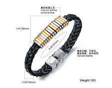 Men's Black Leather Bracelet with Colour Rings