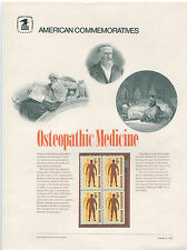 #1469  1972 8c Osteopathic Medicine Stamp  USPS #3 Commemorative Stamp Panel