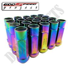 GSP NEO CHROME TYPE-3-X RIM STEEL LUG NUTS 55MM 20 PIECE M12 X 1.5 OPEN END JDM