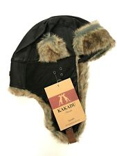 Kakadu Traders Inlander Aviator Hat Leather Fur Lining Trapper Bomber Small New
