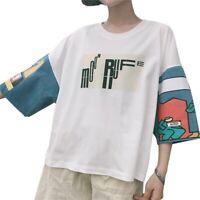 Korean Style Woman Letter Print T-shirt Half Sleeves Loose Short Sleeve Tops