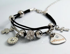 Genuine Braided Leather Charm Bracelet With Name - ABIGAIL  - Gifts for her