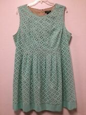 Womens Sheath Dress Size 20W Green Overlay Over Beige Lining Jessica Howard 77