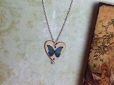 Collar de Corazón de Madera de Mariposa Azul Colgante de Bohemia regalos para su aniversario