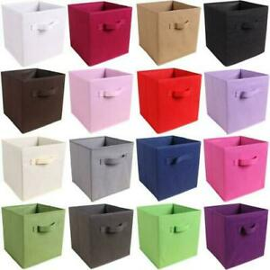 4 x Foldable Canvas Storage Collapsible Box Home Clothes Organizer Fabric Cube
