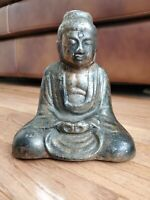 """Vintage Cast Iron Sitting Chinese Buddha Statue Figure Bookend or Doorstop 7"""""""