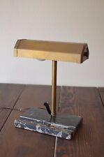 Vintage Metal with Marble Base Table Desk Lamp Brass Blk Wht Pen Holder Works!!