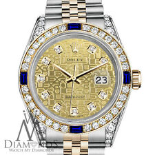 Rolex 26mm Datejust Champagne Gold Dial with Sapphire & Diamond Watch