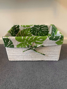 Tropical White Wicker Storage Basket Lining Home Decor Hamper Gift Stackable