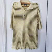 Mens Footjoy Polo Yellow with Black Stripes Size XL EUC