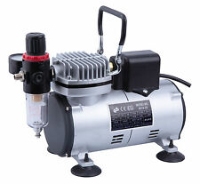 AS18-2S HIGH QUALITY OIL-LESS MINI PISTON AIRBRUSH COMPRESSOR WITH COOLING FAN