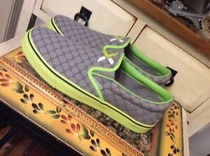 Nutanix ~ Men's Size 9 ~ Women's Size 10.5 ~ Lime Green & Gray Canvas Shoes