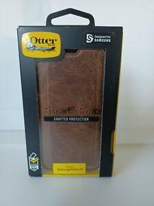 Authentic OtterBox Strada Folio Samsung Galaxy S9 Worn Leather Wallet Case Brown