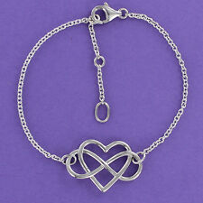 Infinity Heart Bracelet 7 to 8 inch Adjustable Sterling Silver 925 NEW Love