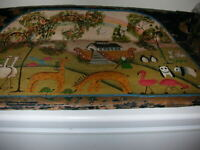 Antique Wagon Seat with Primitive Folk Art Noah's Ark Painting