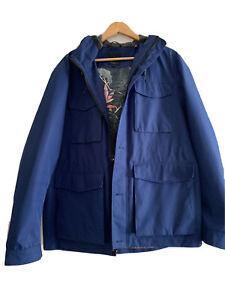 """Ted Baker Men's wind breaker hooded Coat Blue Size 6 UK XL Chest 42""""  no reserv"""