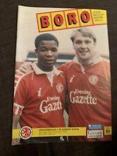1992 Middlesbrough V Blackburn Rovers Football Programme