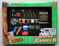 HAPPY CAMPER  for 1:24 Scale Diecast Diorama Camping COOLER CHAIRS LANTERN GRILL
