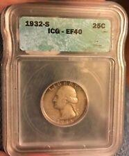 CERTIFIED 1932-S Washington Quarter , XF40 ICE