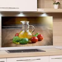 Küchenrückwand Glas ESG Küche Spritzschutz Küche Herd Basilikum Öl Küchenmotiv