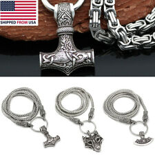 Men's Vintage Silver Norse Viking Wolf&Thor Hammer Mjolnir Pendant Necklace