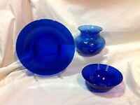 Vintage Cobalt Blue PLATE, BOWL, VASE