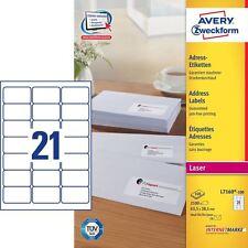 Avery  Laser Jam Free White Address 21 Labels Per Sheet 100 In Box L7160