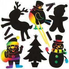 10 Natale Scratch Art MAGNETE Decorazioni Bambini Craft Natale Babbo Natale Pupazzo di neve ANGELO