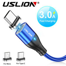 USLION 3A Magnetic Fast Charging Cable Micro USB Type C Cord For Samsung Huawei