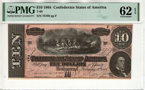 1864 $10 CONFEDERATE STATES OF AMERICA NOTE CURRENCY T-68 PMG UNC 62 EPQ (058)
