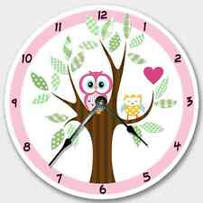 Wall Clock PINK MOD OWL Nursery Art Baby Toddler Girl Custom Room Decor 7192_FT