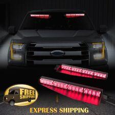 """34"""" 32 LED Car Emergency Warning Visor Split Deck Dash Strobe Light Bar 12V Red"""