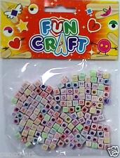 Alphabet bead necklace bracelet set cube shaped letters name kit