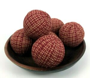 Primitive Country Rag Balls Red Plaid Homespun 2.5 inch Bowl Filler