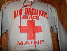 VINTAGE OLD ORCHARD BEACH MAINE HOODIE RED CROSS SWEATSHIRT~Sz SMALL~GREY & RED