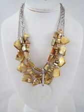Kenneth Cole silver tone striple strand yellow stone~siver charm necklace, NWT